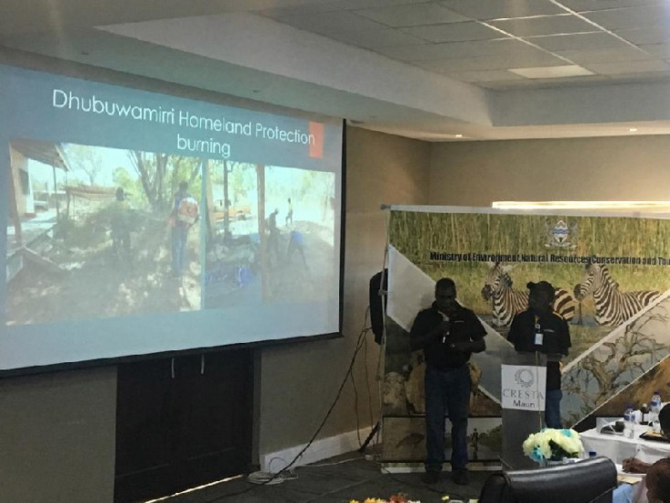 ASRAC Rangers Otto Campion and Peter Djigirr presenting at the 7th National Fire Management Conference.