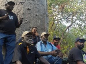 Kimberley Rangers, Robin Dann from Wunggurr, Nathan Green from Nyikina Mangala, and Bayo Taylor from Karajarri, with ASRAC's Otto Campion and Peter Djigirr and interpreter Morula.
