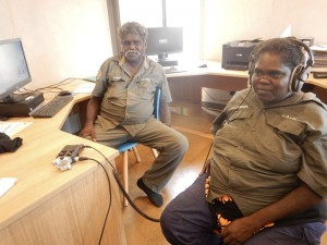 Rangers undertaking media training in short film production and sound recording through ARDS Aboriginal Corporation Indigimob project
